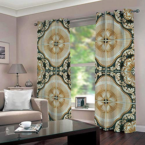 SUZIHUA Verdunkelungsvorhang 3D Fünf Blumen Massiver Vorhang Isolierung Fensterdekoration Öse Wohnzimmer...