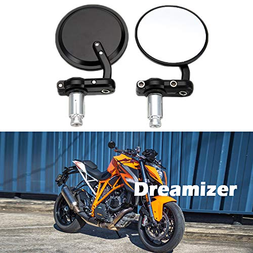 "DREAMIZER Moto Rotondi Specchietti Manubrio 7/8"" 22mm, Specchietti Retrovisore Moto per Street Sport Bikes Cruiser"