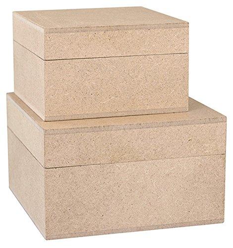 Kreul 45153 Vierkante houten dozen set van 2, elk 1 stuk ca. 7,5 x 7,5 x 4,5 cm en ca. 9,5 x 9,5 x 5,5 cm, onbehandeld, om te versieren met verschillende technieken en kleuren.