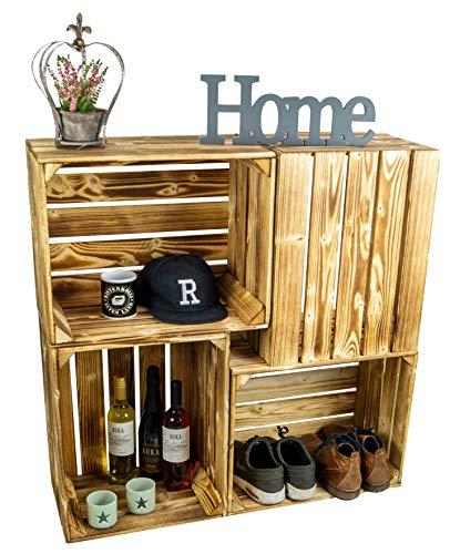 Kistenkolli gammalt land bränd/brun trälåda 50 x 40 x 29 cm flammat TV-bord vardagsrumsbord äppellåda vinlåda förvaringsbox, flambéed, 50 x 40 x 29 cm L x B x H (Öffnung nach oben zeigend)