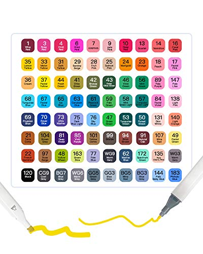 80 Color Alcohol Permanent Markers, Dual-Tip Alcohol Based Art Marker Pens Highlighters, Artists Sketch Markers with Case for Kids and Adults Painting Coloring Sketching Illustrating