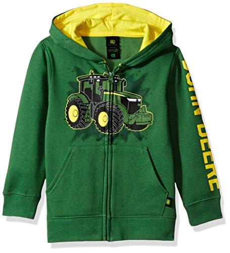 John Deere boys John Deere Tractor Little Boy Zip Front Fleece Hoody Hooded Sweatshirt, Green Tractor, 7 US