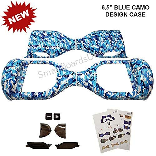 6.5'Hoverboard Plastic Chrome y Design Shell's - Swegway Shell 6.5 Pulgadas Frame 2 Wheel Smart Balance Scooter Plastics (Azul Camo)