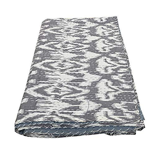 Colcha de algodón con estampado de Ikat gris Kantha colcha étnica Hippie edredón reversible cosido a mano doble Kantha Gudri