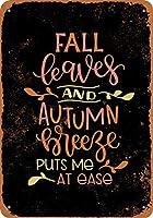 8 x 12 cm メタル サイン - 紅葉と秋のそよ風が私を落ち着かせます (黒の背景) メタルプレートブリキ 看板 2枚セットアンティークレトロ