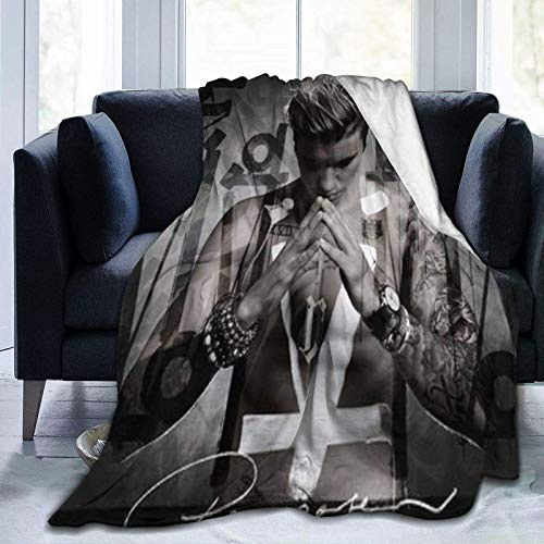 Justin-Bieber - Manta de franela de microforro polar ultrasuave para sofá, cama, sofá, 152 cm x 50 cm