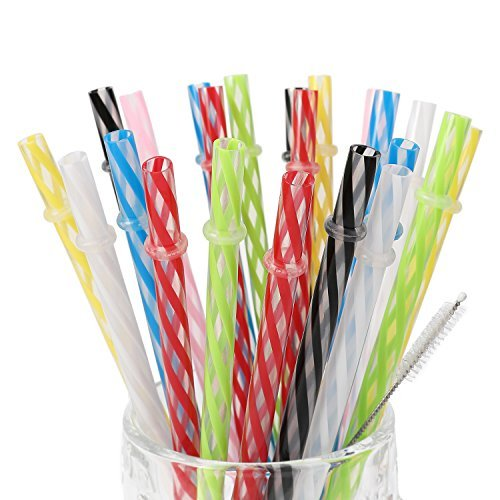 25 Pieces Reusable Plastic Straws