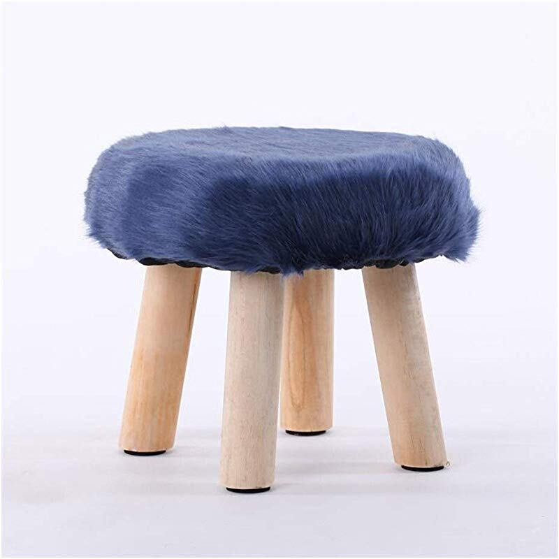 Carl Artbay Wooden Footstool Blue Fashion Stool Wood Small Bench Creative Stool Removable And Washable Stool Home