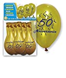 DISOK - Set 8 Globos Oro 50 Aniversario - Globos Decorativos, para decoración Globos para Fiestas, B...