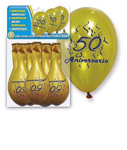 DISOK - Set 8 Globos Oro 50 Aniversario - Globos Decorativos, para decoración Baratos. Globos para Fiestas, Bodas, Bautizos, Comuniones Eventos, Cumpleaños, Bodas de Oro