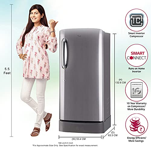 LG 190 L 5 Star Inverter Direct-Cool Single Door Refrigerator (GL-D201APZZ, Shiny Steel, Base stand with drawer) 2