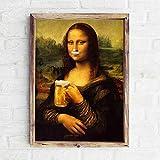 Leinwand-Malerei Abstrakte Leinwand Mona Lisa Bier Poster