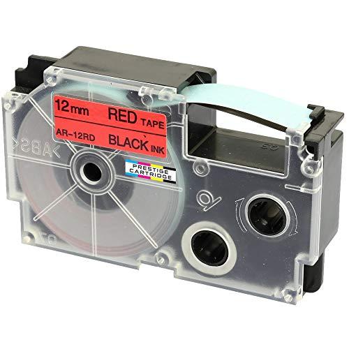 Kassette XR-12RD XR-12RD1 schwarz auf rot 12mm x 8m Schriftband kompatibel für CasioKL-60 KL-100 KL-120 KL-200 KL-300 KL-750 KL-780 KL-820 KL-2000 KL-7000 KL-7200 KL-8100 CW-L300 Beschriftungsgerät