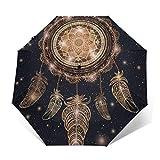 Magic Mandala and Feathers Paraguas compacto a prueba de viento para mujeres hombres sombrilla plegable de viaje