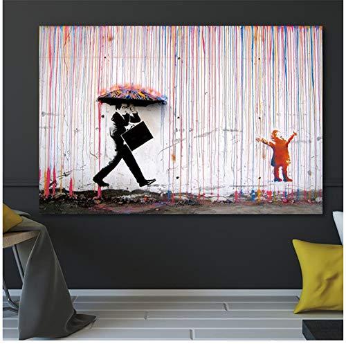 Banksy Bunte Regen Wandkunst Leinwand Malerei Wohnkultur Kunstwerk Poster Und Drucke Wandbilder 60X90 cm Kein Rahmen