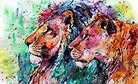 1000ピースパズル木製大人の子供たち2頭のライオンを描いたジグソーキッズファミリーゲーム - 70x50cm