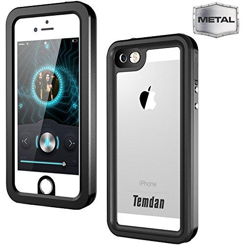 Temdan 2017 iPhone SE/5S/5 Metal Waterproof Case Metal Frame Built in Screen Protector Shockproof Waterproof Metal Case for iPhone SE/5S/5 (4inch) (Metal Black)