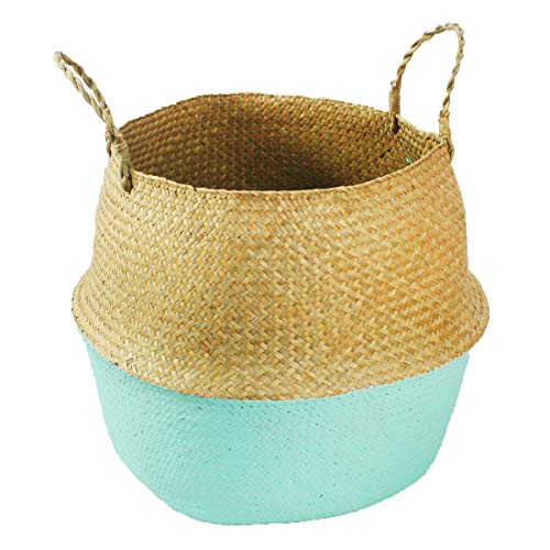 Mallalah Cesta de Almacenamiento Cesta de Mimbre de Flor Cesta de Lavandería Plegable Trenzada Suciedad en Mango de Pasto Marino 3 Tamaños para Elegir (azul, M)