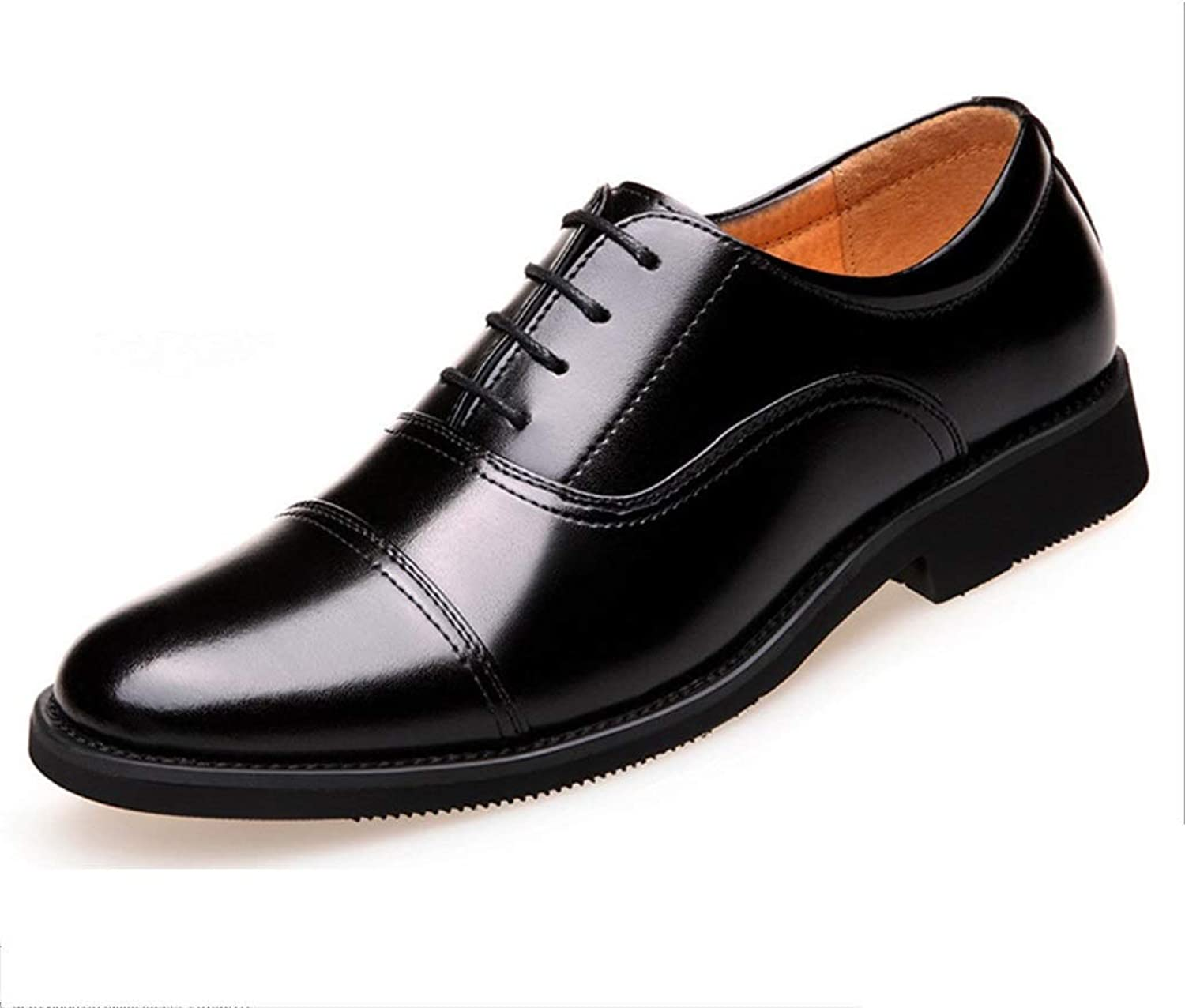 MON5F HOME Dress shoes Classic Sergeant Dress shoes Business Pointed Officer Leather shoes Military Labor Insurance Business Men's shoes (color   Black, Size   44)