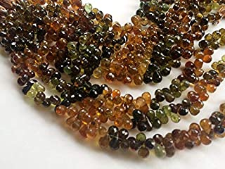 4 inch strand natural petro tourmaline 6x8 mm tear drop faceted beads - jewelry - petro tourmaline faceted teardrops, tourmaline beads, petro tourmaline necklace, 6x8mm, 4 inch, 35 pcs -