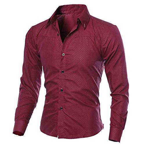 Xmiral Herren Hemden Tops Plaid Printed Bluse Lässige Langarm Slim Shirt Gentleman Arbeitskleidung(M,Wein Rot)