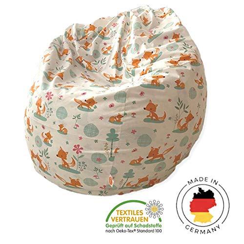 millemarille Sitzsack für Kinder & Erwachsene   XL Sessel ø 80 cm, 240 Liter   Bean Bag aus formstabilen & ungiftigen EPP Perlen   Bezug waschbar & auswechselbar, Ökotex 100   Design: Sweet Foxes
