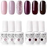 Gellen Gel Nail Polish KIT 6 Colors - Misty Rose & Midnight Series Pastel Pink Wine Tone, Rose Glitter Home Nail Art Salon Gel Manicure Set