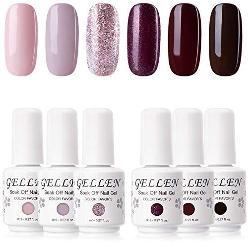 Gellen UV Gel Nail Polish Set 6 Colors - Misty Rose & Midnight Series Pink Purple Brown Colors Shade, Home Nail Art Salon Manicure Kit
