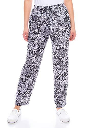 Kendindza - Pantalones de verano para mujer, largos, ligeros, con flores, de algodón Negro. Diseño: flores. XL
