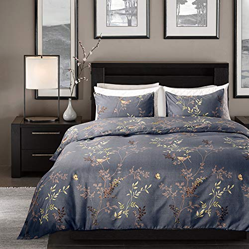 Bonhause - Juego de cama (funda nórdica de 200 x 200 cm y 2 fundas de almohada de 80 x 80 cm, 3 piezas, diseño de pájaro con flores AST de microfibra suave y ligera