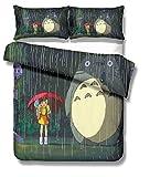 REALIN Fundas Nórdicas Totoro Juego De Ropa De Cama Animal De Dibujos Animados Anime Colcha 2/3/4PCS Fundas De Edredón Nórdico/Almohada/Sábanas,para Cama 90/135/150/180 (Cama 80/90(140×210cm)-3PCS,B)