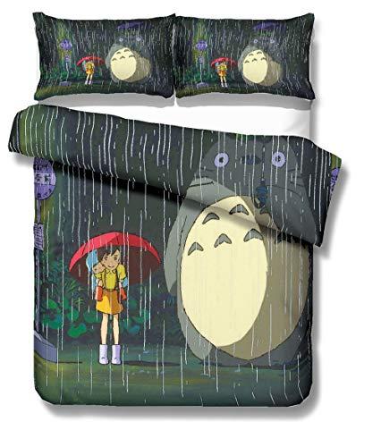 REALIN Fundas Nórdicas Totoro Juego De Ropa De Cama Animal De Dibujos Animados Anime Colcha 2/3/4PCS Fundas De Edredón Nórdico/Almohada/Sábanas,para Cama 90/135/150/180 (Cama 80/90(140×210cm)-