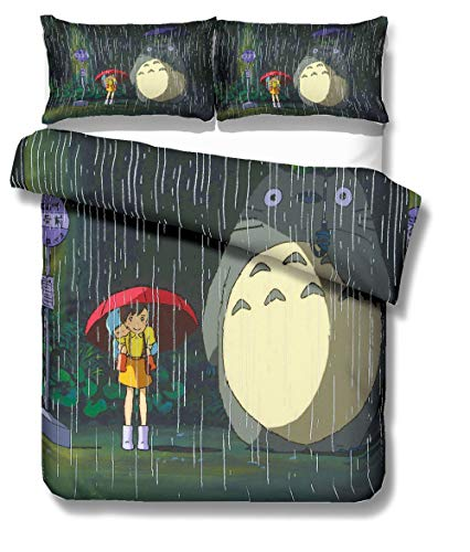 REALIN Bettbezüge Set Mein Nachbar Totoro Bettwäsche Cartoon Tier Anime Bett Sets 2/3/4Teilig Bettbezüge/Kissenbezüge/Bettlaken Für Kinder,Jungen,Mädchen (Single-140x210cm-3PCS,B)