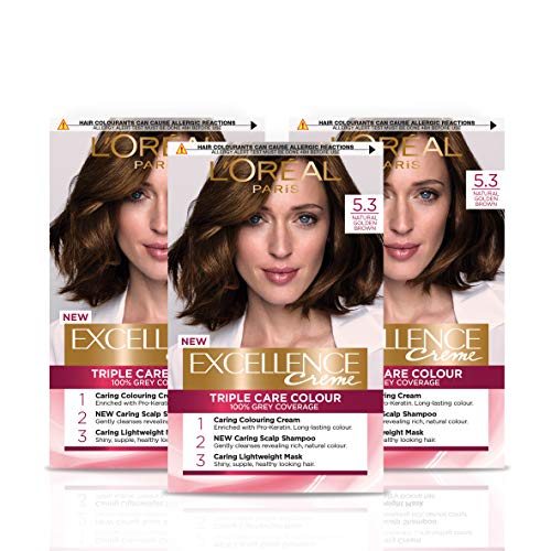 L Oréal Paris Excellence Crème Permanent Hair Dye, Radiant At-Home Hair Colour with up to 100% Grey Coverage, Pro-Keratin, Up to 8 Weeks of Colour, Pack of 3, Colour: 5.3 Natural Golden Brown