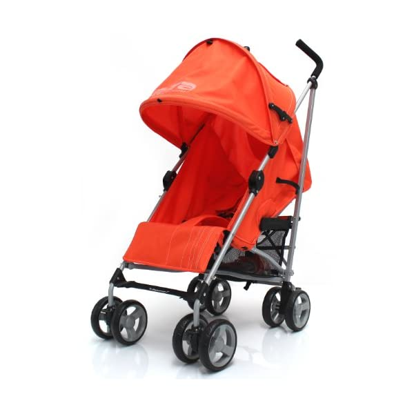 Zeta Vooom Stroller (Orange) ZETA Suitable From Birth Unique drop down privacy hood with parent window Complete with raincover 3