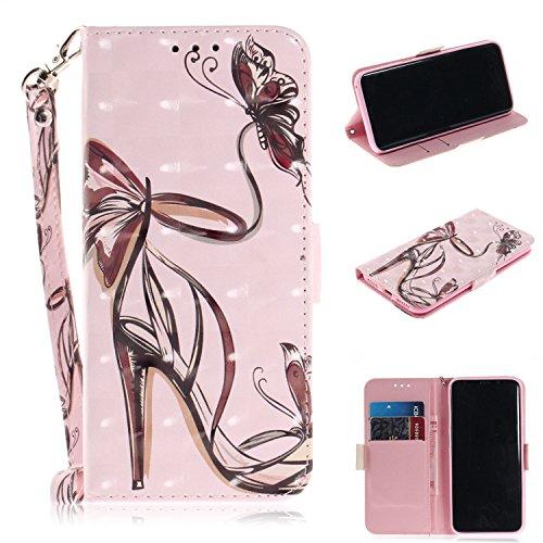 Nadoli Galaxy S8 Lederhülle,3D Standfunktion Pu Leder Flip Brieftasche Handyhülle High Heels Schmetterling Wallet Tasche Etui für Samsung Galaxy S8,High Heels Schmetterling