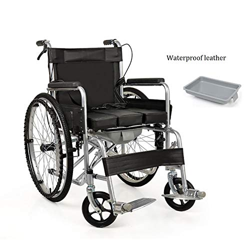 WuLien Trommelbremse, Kippschutz, Rollstühle mit Selbstantrieb tragbar Klappbares, für Menschen mit Behinderungen, Senioren, Menschen mit Behinderungen