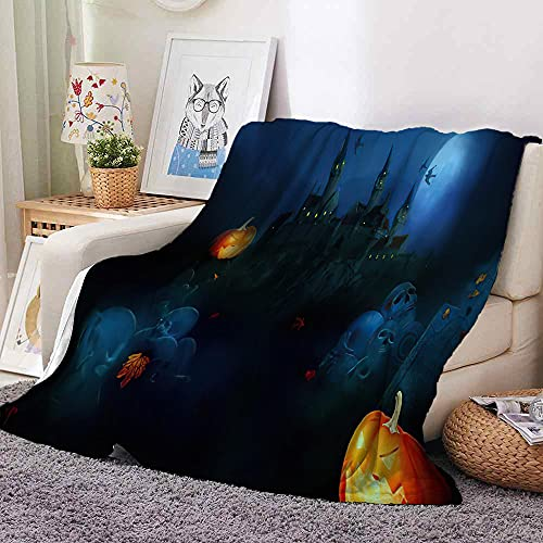 Manta Calabaza de Castillo de luz de Luna Negra Azul Manta de Forro Polar de Microfibra Manta Sofa para Dormitorio,Sala de Estar,decoración del hogar para Cama,sofá 180 cm x 200 cm