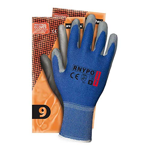 Reis RNYPO_NS7 Schutzhandschuhe, Blau-Grau, 7 Größe, 12 Stück
