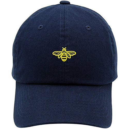 Bee Embroidered Brushed Cotton Dad Hat Cap Navy