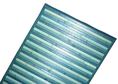DEMONA Tappeto stuoia bamboo legno moderno pedana cucina degradè passatoia antiscivolo VARI COLORI E MISURE SPEDIZIONE GRATUITA (NMB-3 Blu, 50X180CM)