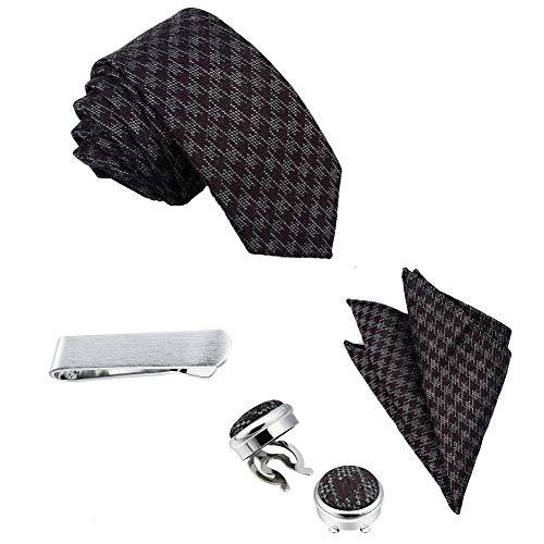 Herren Krawatten-Set, quadratisch, mit Knopfabdeckung, Manschettenknöpfen und Krawattenklammer in Geschenkbox – Bestes Geschenk für Hochzeiten, Geschäftspartys - mehrfarbig - Normal