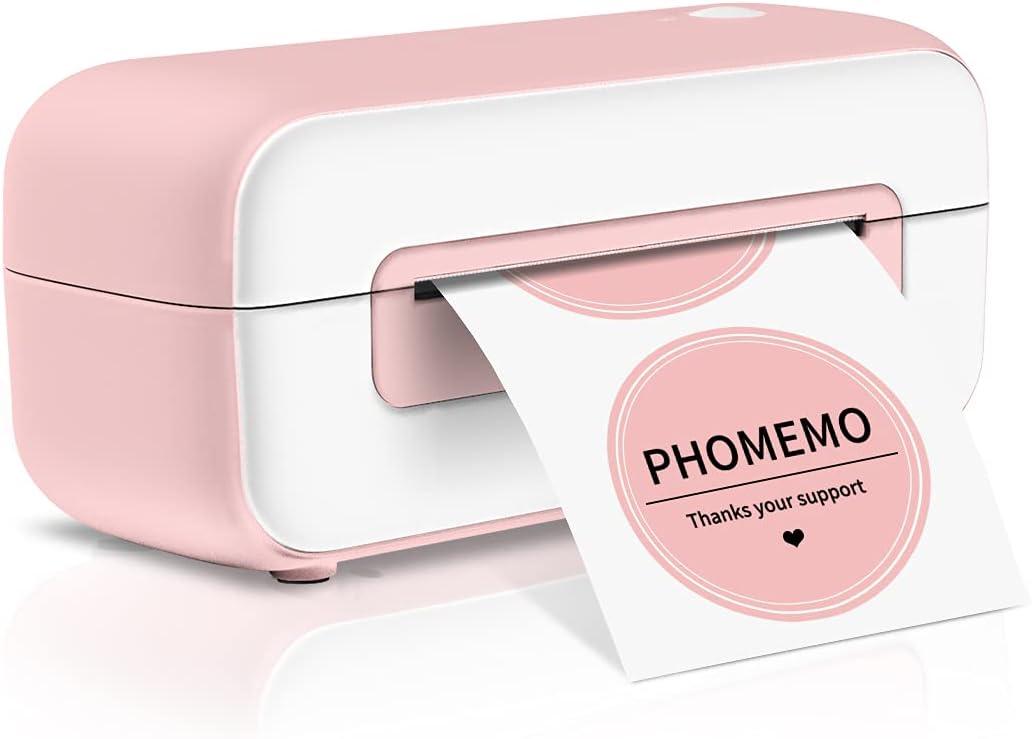 Pink Label Printer, Phomemo Thermal Label Printer for Shipping Packages, Shipping Label Printer for Amazon Shopify Etsy Ebay FedEx USPS, Desktop Label Printers for Home Business, Pink