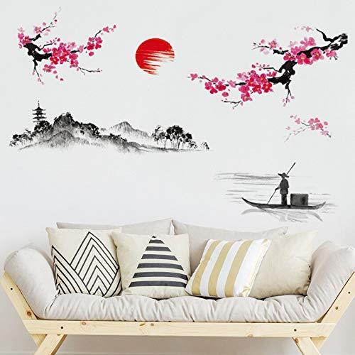 Pegatinas murales de paisaje chino sala de estar dormitorio cocina habitación de los niños decoración de la pared calcomanías artísticas de pared