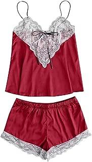 BODOAO Women Pajama Set Cute Lace Embroidered Silk Underwear and Shorts Sleepwear