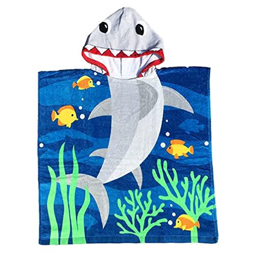 Lurrose キッズ子供フード付きタオル漫画スイムビーチバスタオルプールアップガールズボーイズシャーク70m