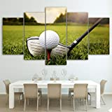 5 Piezas Cuadro sobre Lienzo De Fotos Putter de hierro para campo de golf Tee Ball Lienzo Impresión Cuadros Decoracion Salon Grandes Cuadros para Dormitorios Modernos Mural Pared Listo para Colgar