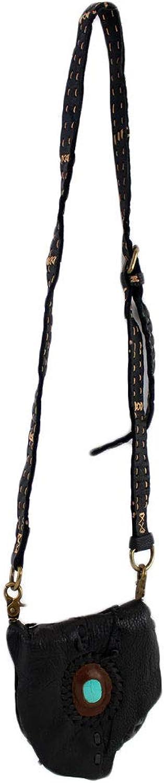 Small Handmade Cowhide Bohemian Black Leather Crossbody Purse Bag with Stone