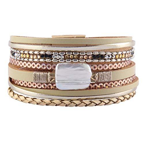HUA JU Baroque Pearl Leather Cuff Bracelet Multi Strand Wrap Bracelets Magnetic Bohemian Bracelet chunky jewelry for women, Wife, Sister