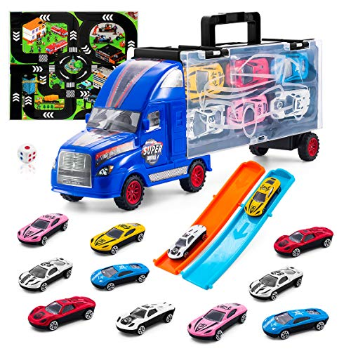 TAODUDU Kids Truck Transport Car -Toy Car with Track Container Set with 12 Mini Alloy Cars and One Eco-Friendly Plastic Transport Toys Cars for Kids, Boys & Girls